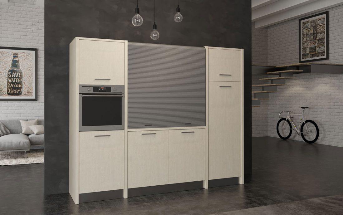 Versilia è una cucina a scomparsa completa larga 2 metri e mezzo