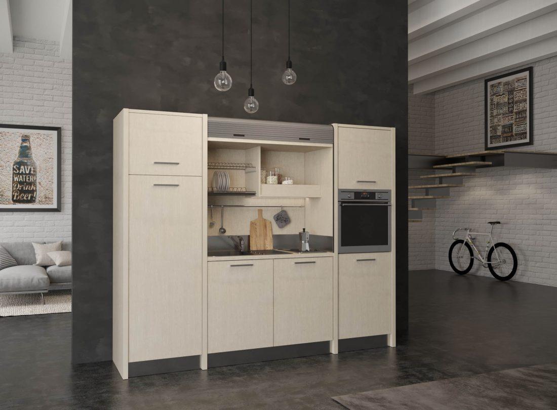 Versilia è una cucina monoblocco adatta a residence per permanenza prolungata