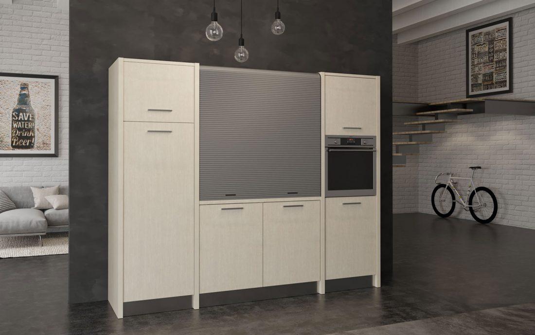 Versilia è una cucina monoblocco con grande frigo in soli 260 centimetri
