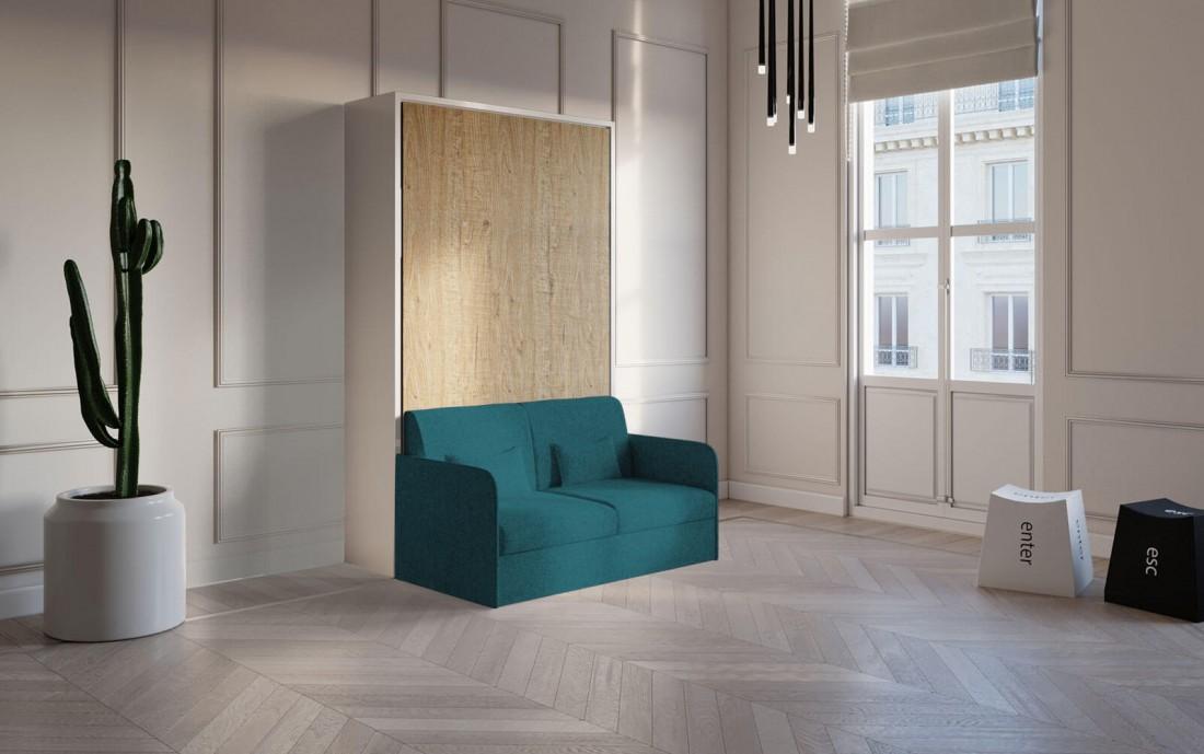 Piuma Sofa 120 Ortensia – Mobile letto a scomparsa con divano