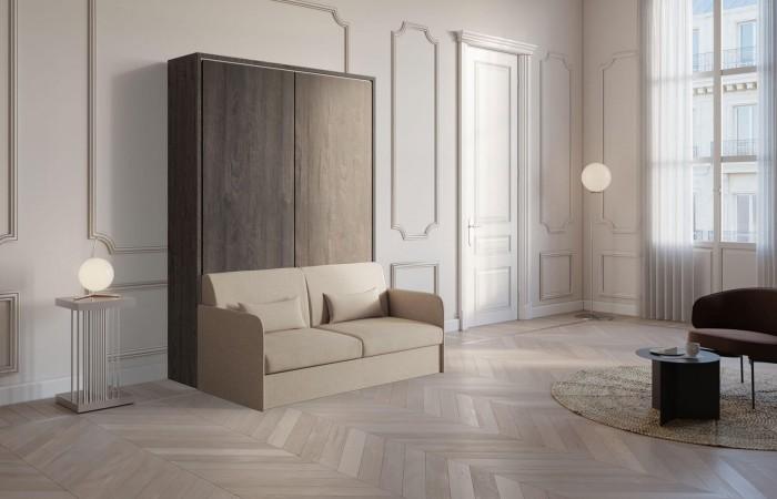 Letto verticale a scomparsa con divano