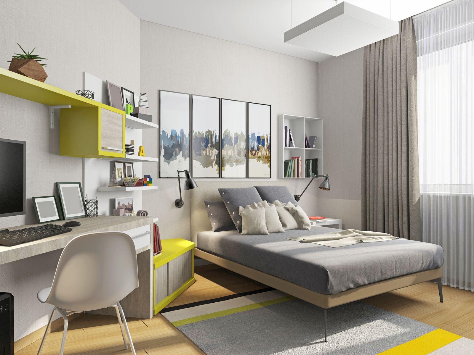 Camera da letto moderna con scrivania