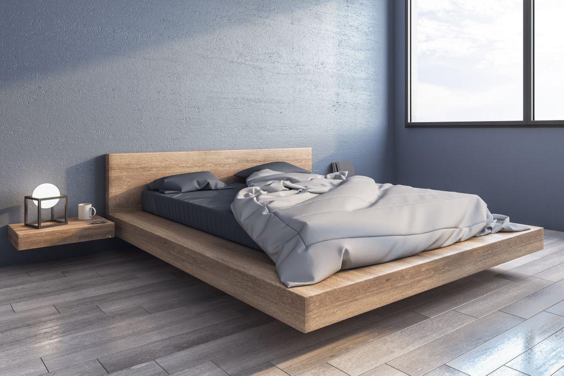 Camera da letto con mobili sospesi